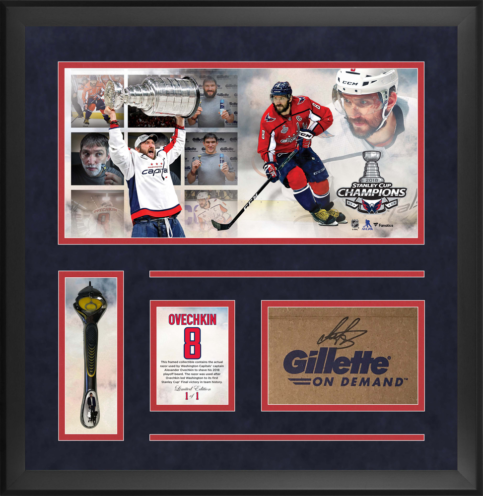 Alexander Ovechkin Washington Capitals Official Gillette Razor #2 (Used to Shave 2018 Playoff Beard) Frame with Autographed Gillette Box - Limited Edition of 1
