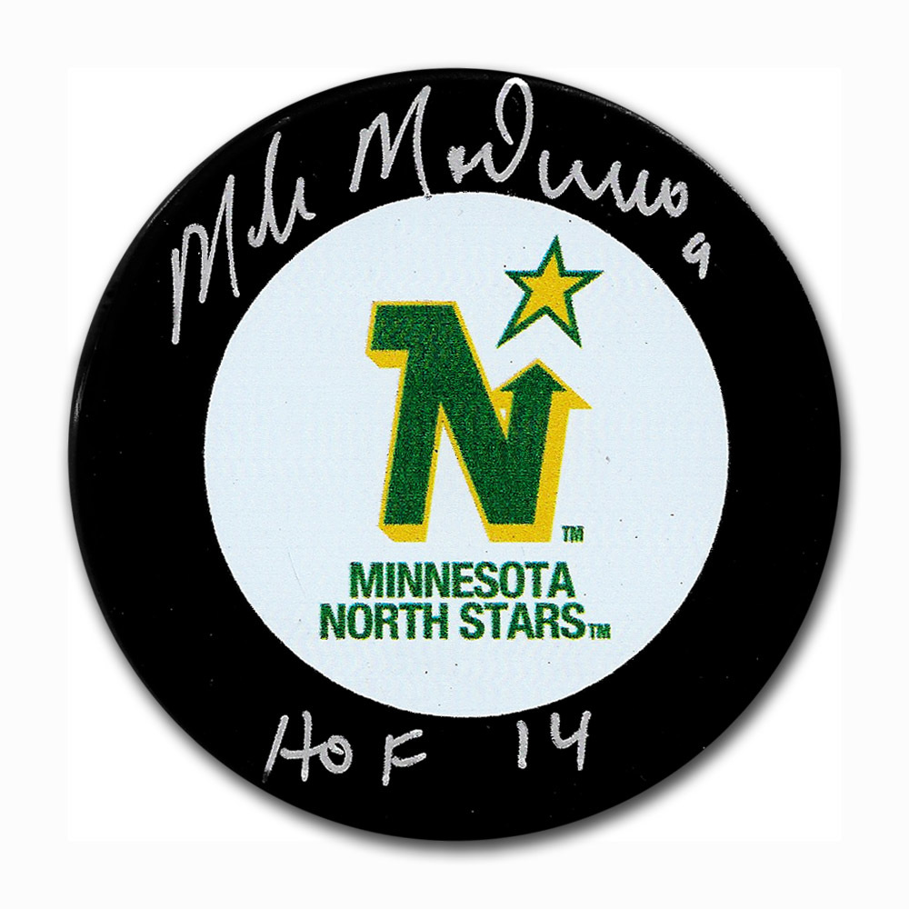Mike Modano Autographed Minnesota North Stars Puck w HOF 14 Inscription 3a734110473