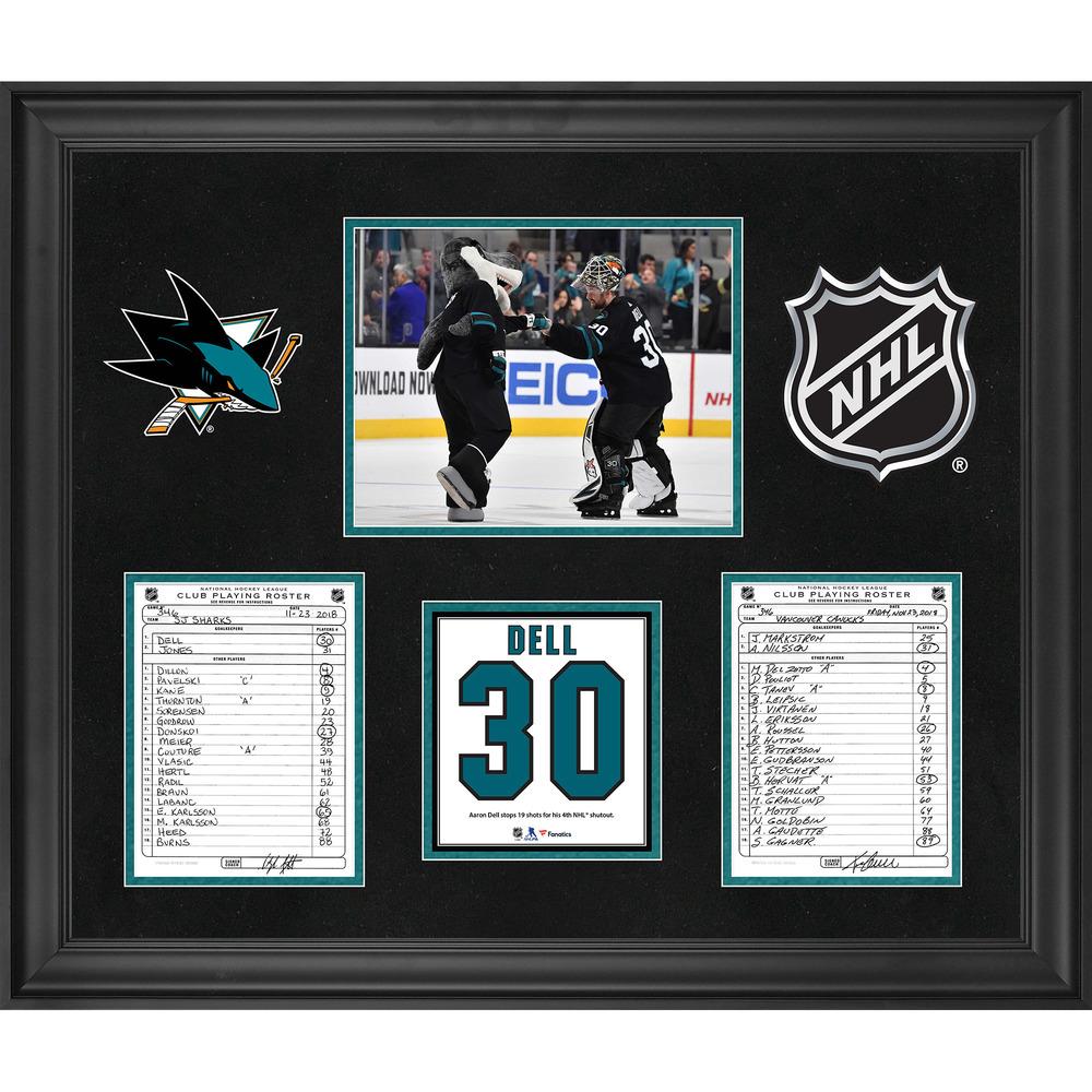San Jose Sharks Framed Original Line-Up Cards from November 23, 2018 vs. Vancouver Canucks - Aaron Dell 4th NHL Shutout