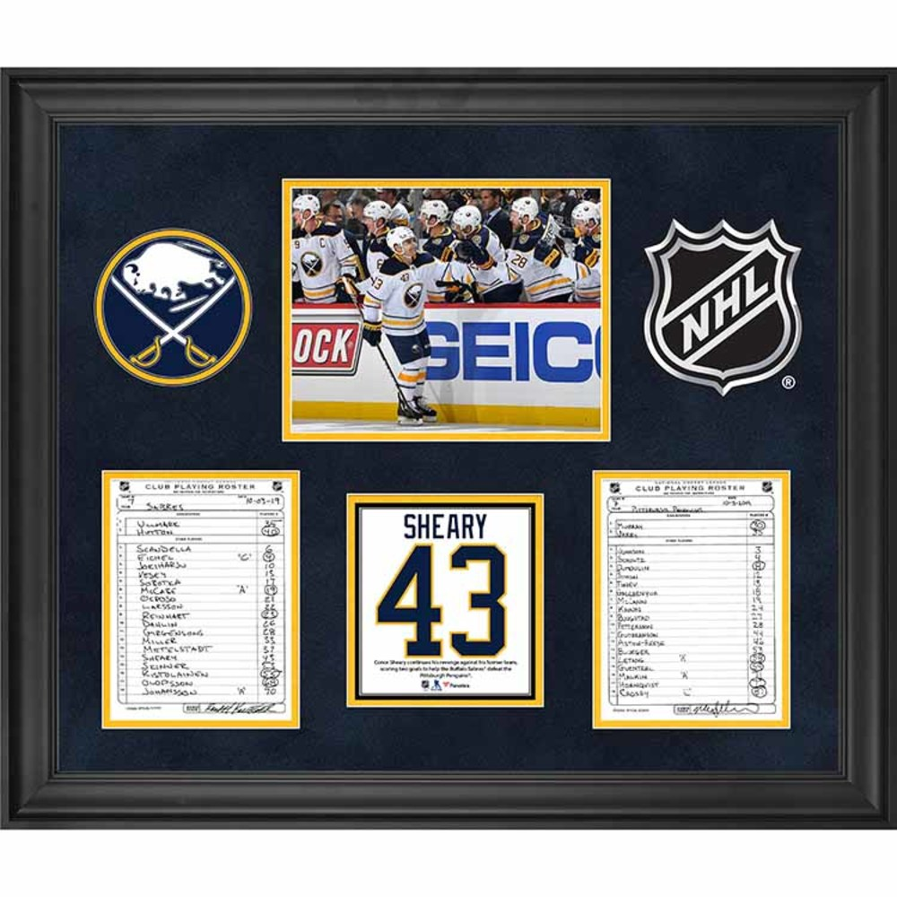 Buffalo Sabres Framed Original Line-Up Cards from October 3, 2019 vs. Pittsburgh Penguins - Conor Sheary Scores Two Goals Against Former Team