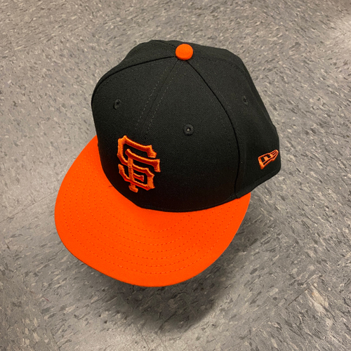 Photo of 2019 Game Used Orange Bill Cap worn by #61 Burch Smith on 9/27 vs. Los Angeles Dodgers - Size 71/8