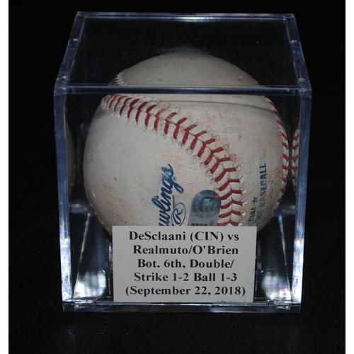Photo of Game-Used Baseball: DeSclafani (CIN) vs J.T. Realmuto/Peter O'Brien, Bot. 6th, Double/Strikes 1,2 Ball 1, 2, 3 (September 22, 2018)