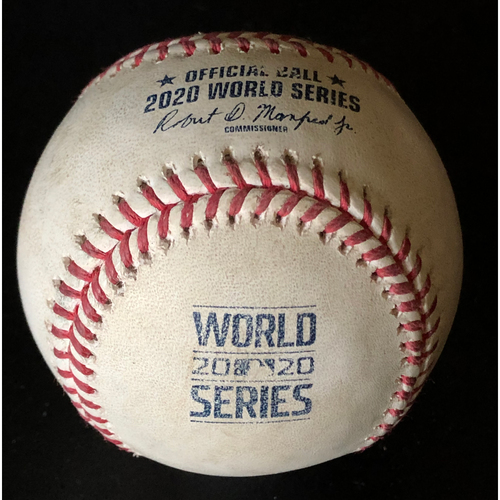 Photo of Game-Used Baseball - 2020 World Series - Los Angeles Dodgers vs. Tampa Bay Rays - Game 4 - Pitcher: Kenley Jansen, Batters: Yoshitomo Tstutsugo (Strike Out Swinging), Kevin Kiermaier (Single to Center Field), Joey Wendle (Foul) - Bot 9