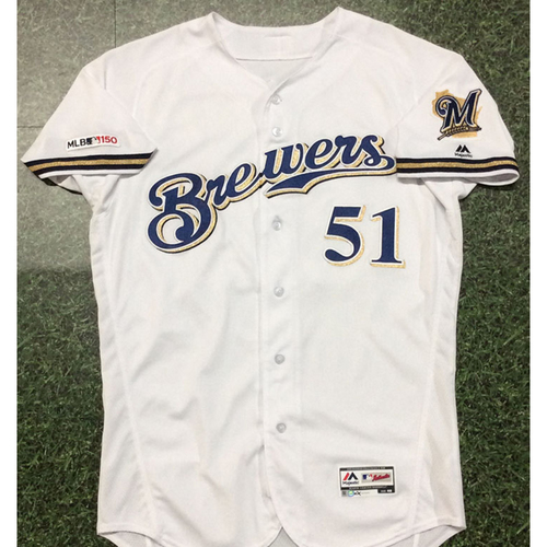 Photo of Freddy Peralta 07/24/19 Game-Used Home White Jersey - 1st Career MLB Save (INCLUDES FREE SHIPPING)