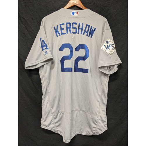 Photo of Clayton Kershaw Team-Issued 2017 Road World Series Jersey