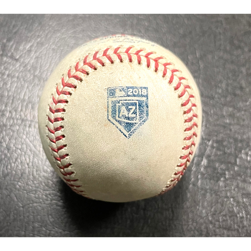 Photo of 2018 Game-Used Spring Training Baseball - Pitcher: A.J. Puk | Batter: Kyle Seager (Foul) - 3/15/18 vs SEA