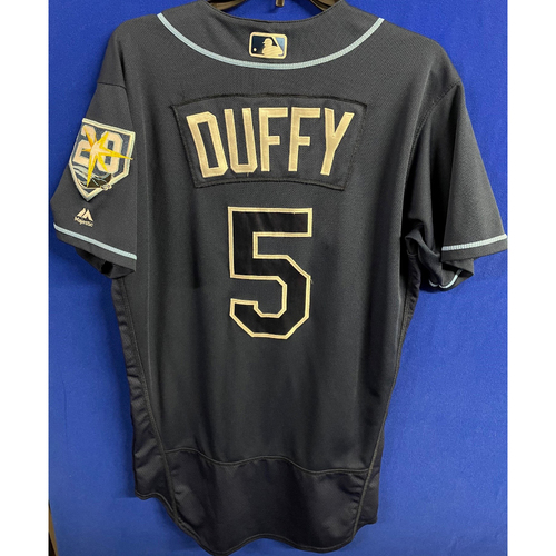 Photo of Game Used Navy Jersey: Matt Duffy - September 29, 2018 v TOR