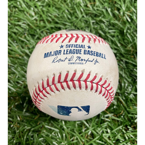 Photo of Game Used Baseball: Aaron Judge single off Louis Head - Gerrit Cole's 1500th K Game - Top 9 - May 12, 2021 v NYY