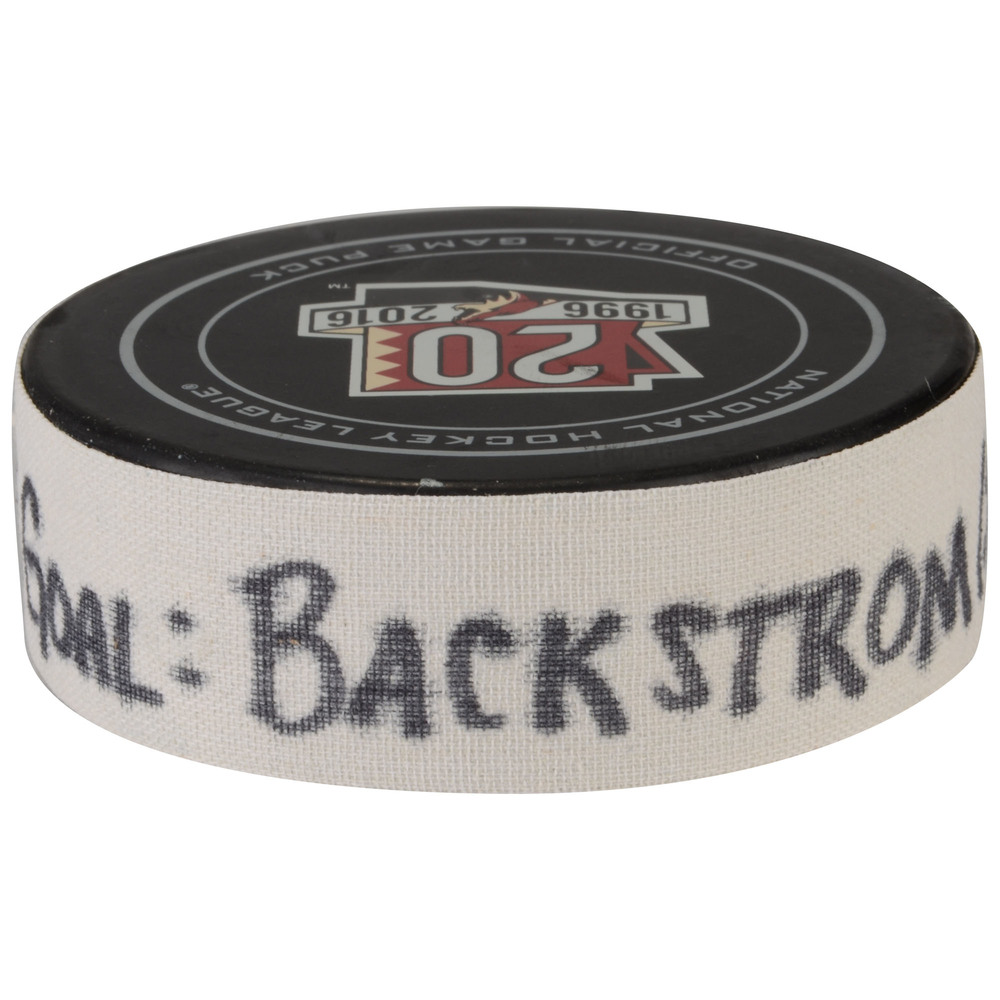 Nicklas Backstrom Washington Capitals Game-Used Goal Puck from March 31, 2017 vs. Arizona Coyotes