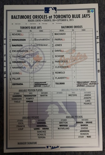 Photo of Authenticated Game Used Line-Up Card - September 6, 2015: 100th Career Win for David Price. 11 inches by 17 inches.