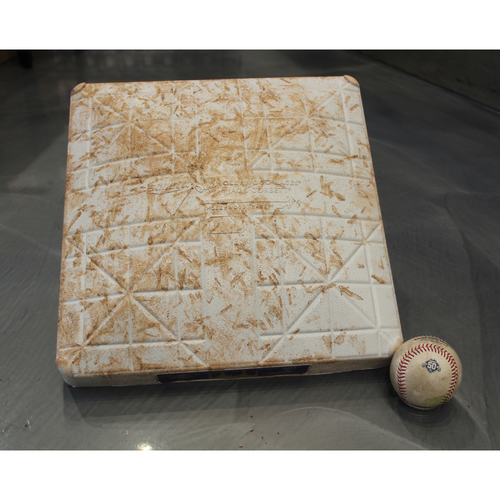 Photo of Game-Used Baseball and 2nd Base: Albert Pujols 622nd Career Double (LAA at KC - 4/12/18)