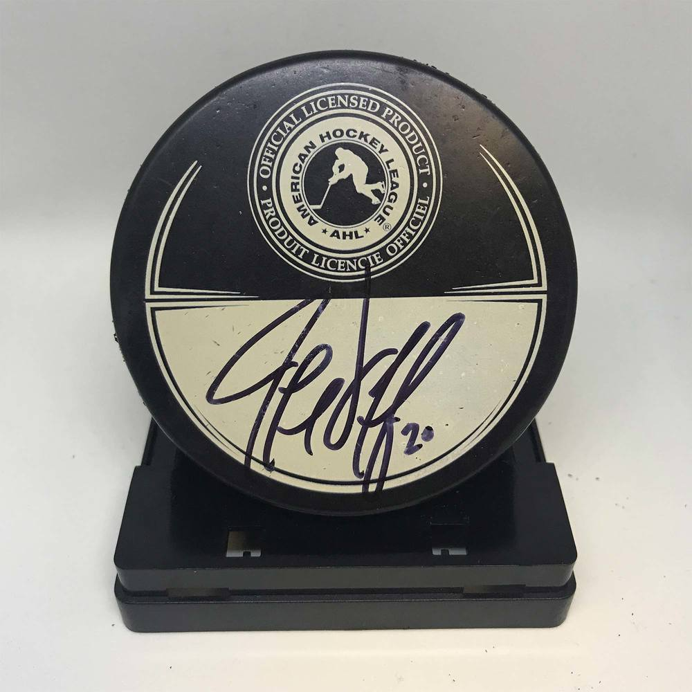 2013 Dunkin' Donuts AHL All-Star Classic Souvenir Puck Signed by #20 Jeff Taffe
