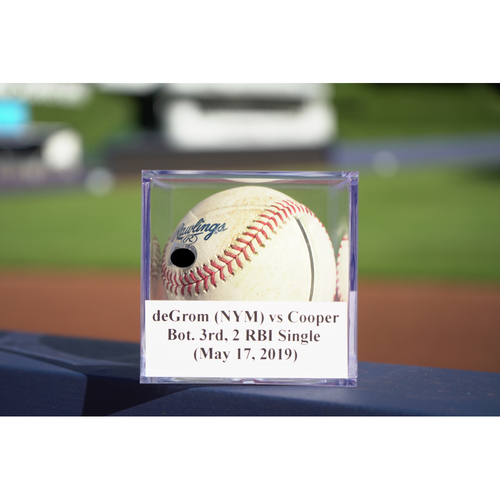 Photo of Game-Used Baseball: deGrom (NYM) vs Cooper, Bot. 3rd, 2 RBI Single (May 17, 2019)