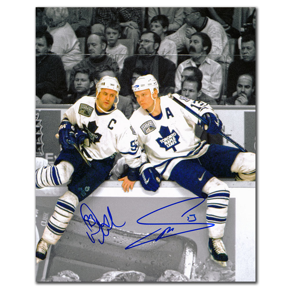 Doug Gilmour & Mats Sundin Toronto Maple Leafs OVER THE BOARDS Dual Autographed 8x10