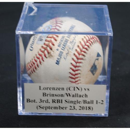 Photo of Game-Used Baseball: Michael Lorenzen (CIN) vs Lewis Brinson/Chad Wallach, Bot. 3rd, RBI Single/Balls 1, 2 (September 23, 2018)