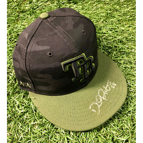 Photo of Rays Baseball Foundation: Game Used Autographed Memorial Day Cap: Daniel Robertson - May 28, 2018 at OAK
