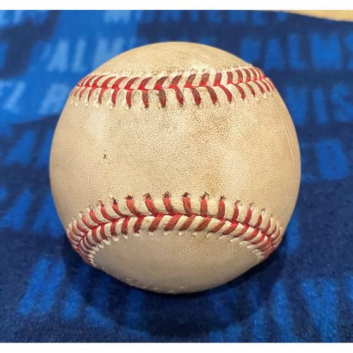 Photo of Game-Used Baseball LAD vs SF 7/25/20 - Dennis Santana Pitching