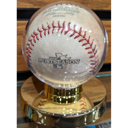 Photo of 2013 ALCS Game 1 October 12, 2013 Red Sox vs. Tigers Game Used Baseball - Lester to Iglesias Pitch in Dirt