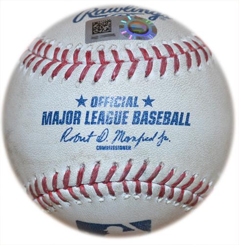 Photo of Game Used Baseball - Megill 6 IP, 0 ER, 5 K's, Earns 1st Career MLB Win, Records 1st Career MLB Hit - Tylor Megill to George Springer - Line Out - Tylor Megill to Teoscar Hernandez - Ball - 4th Inning - Mets vs. Blue Jays - 7/23/21