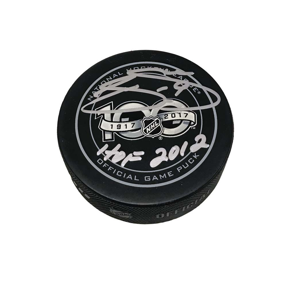 JOE SAKIC Signed NHL100 Official Game Puck with HOF 2012 Inscription - Colorado Avalanche
