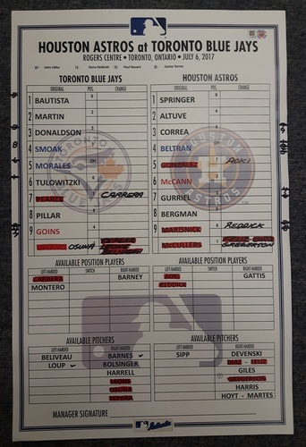 Authenticated Game Used Line Up Card - July 6, 2017 vs HOU: Every Blue Jays starter recorded at least 1 Hit