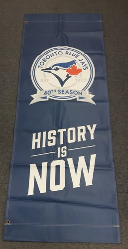 Photo of Authenticated Team Issued Banner - 40th Anniversary Banner from 2016 Season. 6 feet by 27 inches