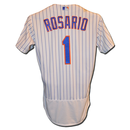 Photo of Amed Rosario #1 - Game Used White Pinstripe Jersey - Rosario Goes 3-4, 2 RBI, 2 Runs Scored - Mets vs. Blue Jays - 5/15/18