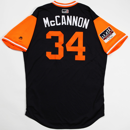 "Photo of James ""McCannon"" McCann Detroit Tigers Game-Used 2018 Players' Weekend Jersey"
