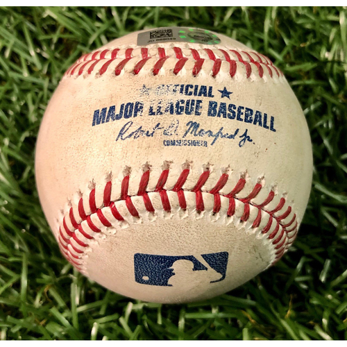 Photo of Game Used Baseball: Aaron Judge strike out & Brett Gardner foul ball off Charlie Morton - September 25, 2019 v NYY