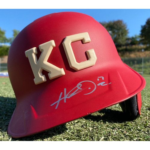 Autographed/Game-Used Monarchs Helmet: Hunter Dozier #17 (STL @ KC 9/22/20) - Size 7 3/8