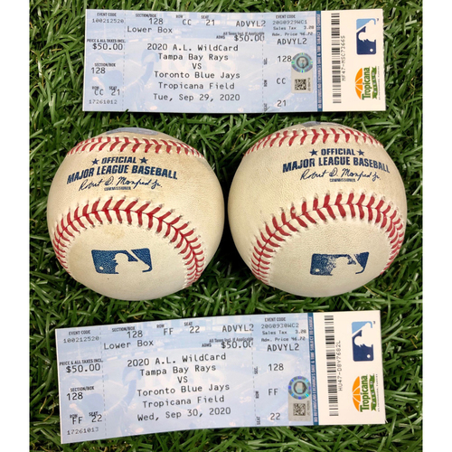Photo of A.L. Wild Card Series Game Used Baseball and Ticket Package: Joey Wendle, Randy Arozarena, A.J. Cole and Anthony Bass - September 29-30, 2020 v TOR