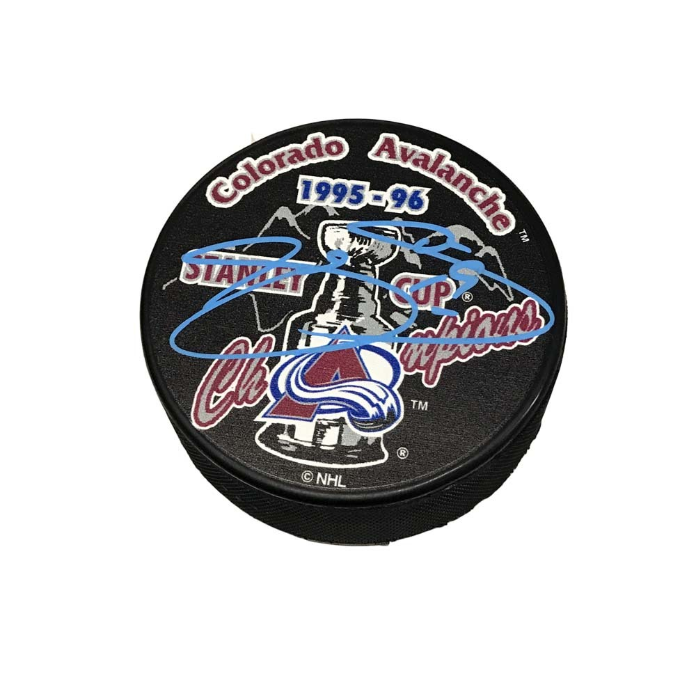 JOE SAKIC Signed 1995-96 Stanley Cup Champions Puck - Colorado Avalanche