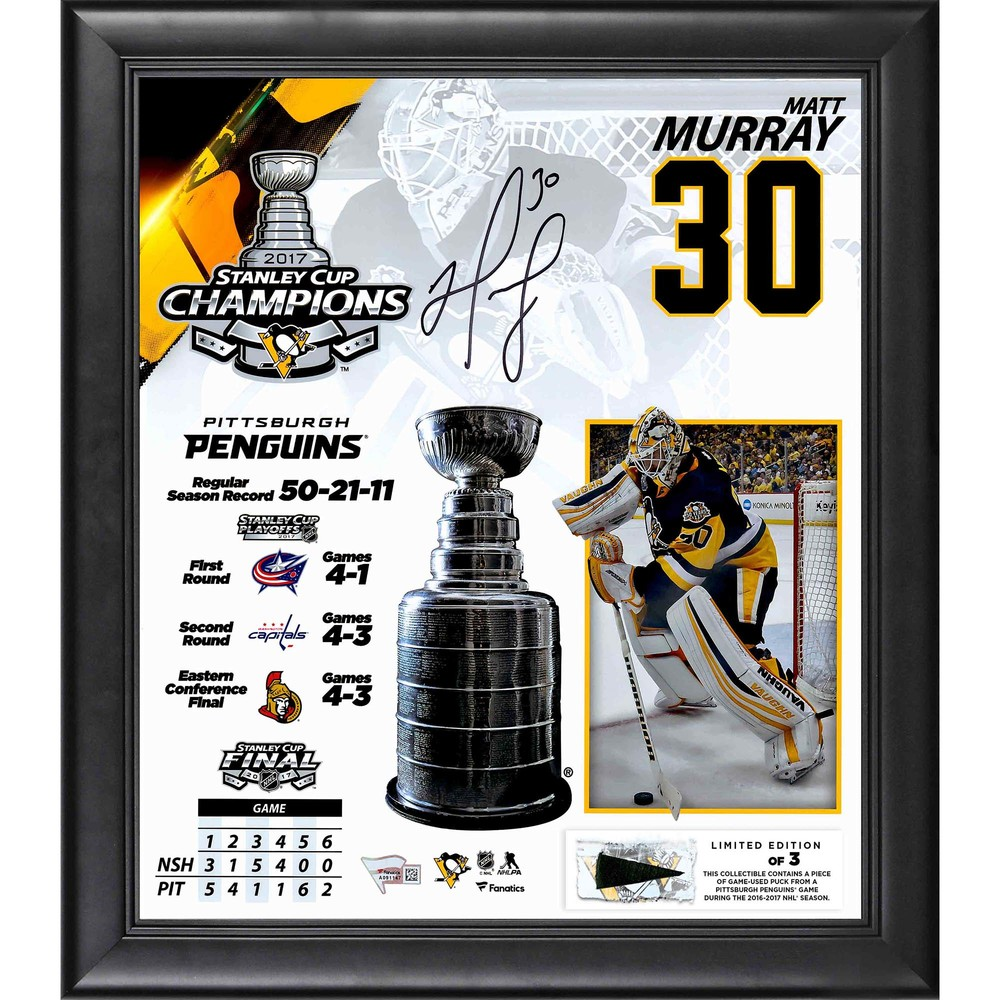 Matt Murray Pittsburgh Penguins Framed 2017 Stanley Cup Champions Autographed 15