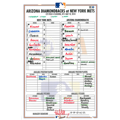 Photo of Game Used Lineup Card - deGrom Earns 4th Win, Ties Career High with 13 Strikeouts - Conforto Goes 4-4, 2 RBI - Mets vs. Diamondbacks - 5/18/18