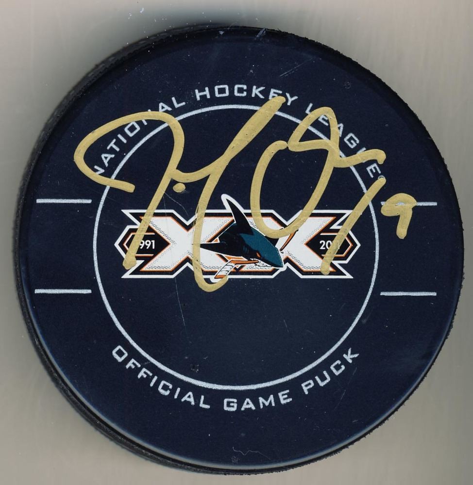 Joe Thornton San Jose Sharks Autographed 20th Year Anniversary Official Game Puck