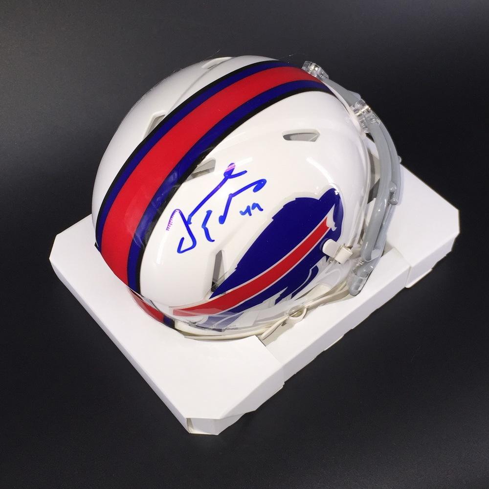 Bills - Tremaine Edmunds Signed Bills Mini Helmet