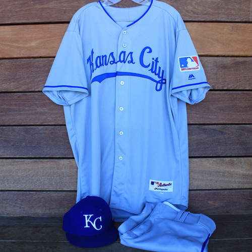 Photo of Game-Used 1969 Throwback Jersey, Pants and Cap: Martin Maldonado (Jersey Size 48 - KC @ WSH  - 7/6/19)