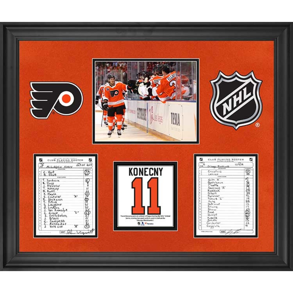 Philadelphia Flyers Framed Original Line-Up Cards from October 4, 2019 vs. Chicago Blackhawks - Travis Konecny Two Goals in 2019 Global Series in Prague