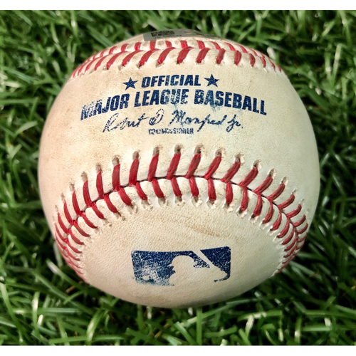 Photo of Game Used Baseball: Ronald Acuna line out & Ozzie Albies single off Yonny Chirinos - July 28, 2020 v ATL