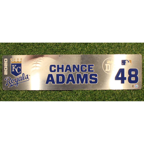 Photo of Game-Used Locker Tag: Chance Adams #48 (DET @ KC 9/24/20)