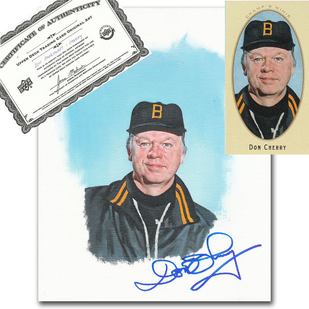 Don Cherry Autographed Upper Deck Trading Card Original Artwork - Limited Edition 1/1