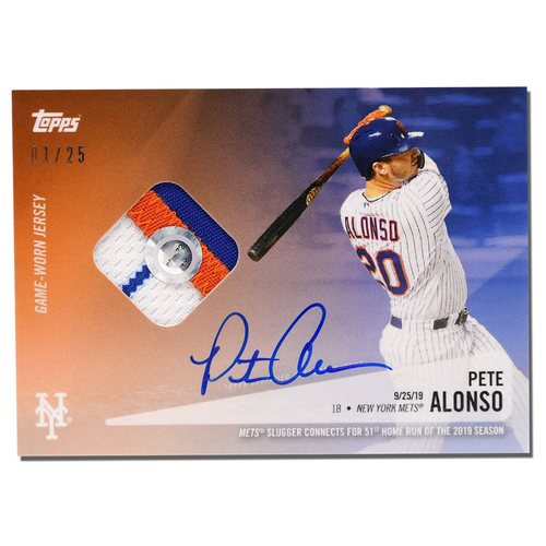 Photo of Pete Alonso #20 - Autographed Limited Edition of 25 Blue Topps Card - Features Authenticated Game Used Jersey from 2019 Rookie of the Year Campaign - Alonso Hits 51st HR on 9/25/19