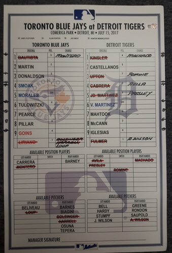 Authenticated Game Used Line Up Card - July 15, 2017 vs DET: Miguel Cabrera moves to 37th All-Time in RBIs