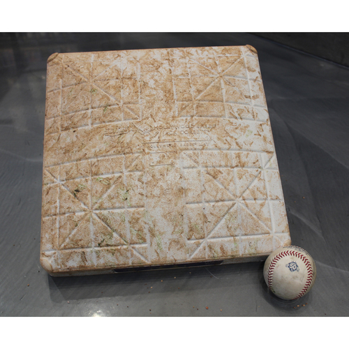 Photo of Game-Used Baseball and 1st Base: Mike Trout 1,053rd Career Hit (LAA at KC - 4/12/18)