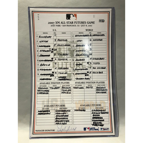Photo of 2007 All-Star Futures Game-Used Team USA Lineup Card