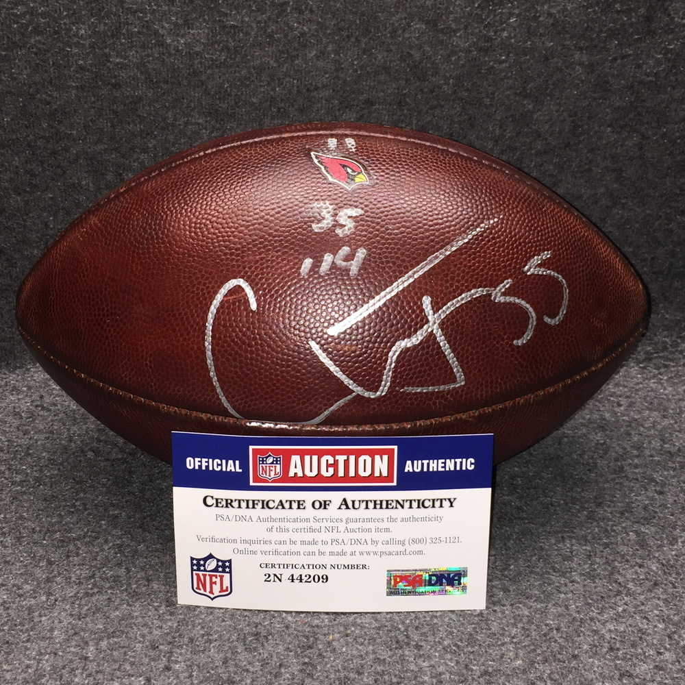 Crucial Catch - Cardinals Chandler Jones signed and game used football w/ Crucial Catch logo and Cardinals logo (October 15, 2017)