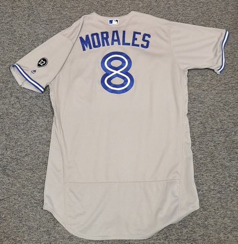 Photo of Authenticated Game Used Jersey - #8 Kendrys Morales (April 6, 18: 0-for-3 with 1 RBI and 1 BB. June 12, 18: 0-for-1 with 1 Walk. July 27, 18: 1-for-4 with 1 HR, 1 Run, 1 RBI, and 1 BB. Aug 2, 18: 1-for-5 with 1 HR, 1 Run and 2 RBIs). Size 50.