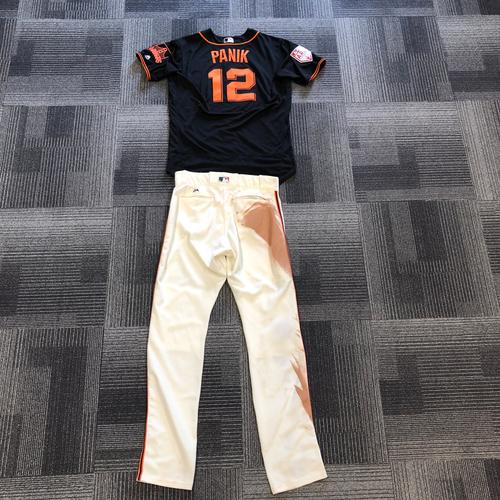 Photo of San Francisco Giants - 2019 Game Used Spring Training Jersey & Pants - #12 Joe Panik - worn 2/24/19 vs CHC - 3 for 3 - HOMERUN - Size 46