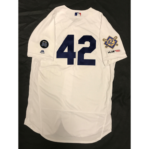 Photo of 2019 Game Used Home #42 Jersey worn by #15 Catcher Austin Barnes on 4/15 Jackie Robinson Day against Cin. 3 AB, BB Dodgers 4-3 victory against Cincinnati. Size-44