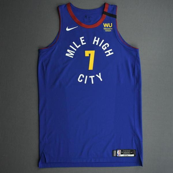 Image of Mason Plumlee - Denver Nuggets - Game-Worn Statement Edition Jersey - 2019-20 NBA Season Restart with Social Justice Message